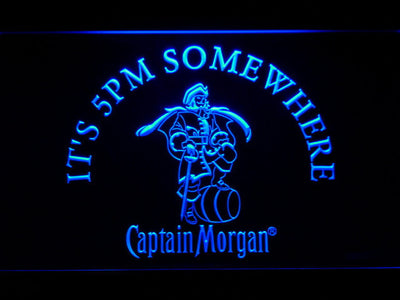 Captain Morgan It's 5pm Somewhere LED Neon Sign - Blue - SafeSpecial