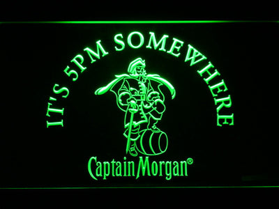 Captain Morgan It's 5pm Somewhere LED Neon Sign - Green - SafeSpecial