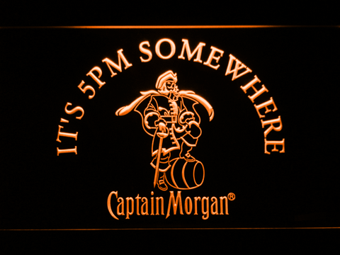 Image of Captain Morgan It's 5pm Somewhere LED Neon Sign - Orange - SafeSpecial