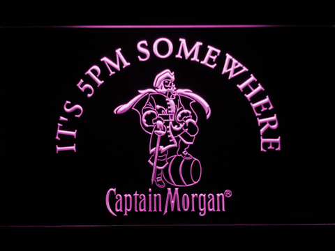Image of Captain Morgan It's 5pm Somewhere LED Neon Sign - Purple - SafeSpecial