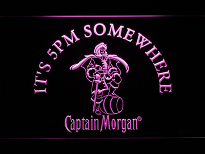 Captain Morgan It's 5pm Somewhere LED Neon Sign - Purple - SafeSpecial