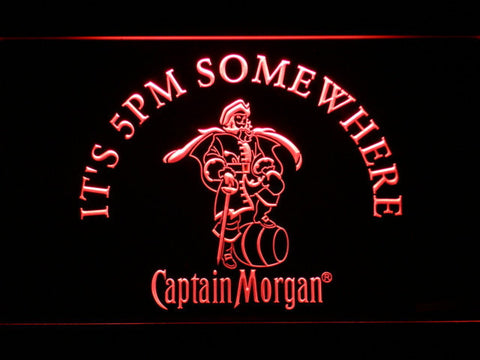 Image of Captain Morgan It's 5pm Somewhere LED Neon Sign - Red - SafeSpecial