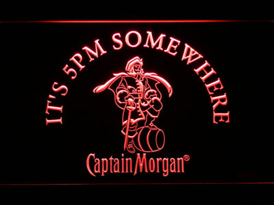 Captain Morgan It's 5pm Somewhere LED Neon Sign - Red - SafeSpecial