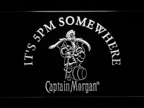 Image of Captain Morgan It's 5pm Somewhere LED Neon Sign - White - SafeSpecial
