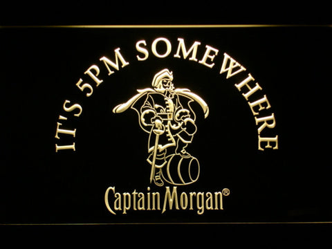 Captain Morgan It's 5pm Somewhere LED Neon Sign - Yellow - SafeSpecial