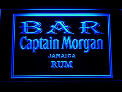 Captain Morgan Jamaica Rum Bar LED Neon Sign - Blue - SafeSpecial
