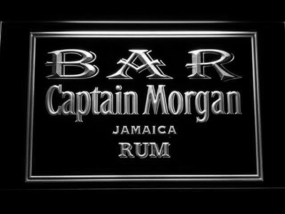 Captain Morgan Jamaica Rum Bar LED Neon Sign - White - SafeSpecial