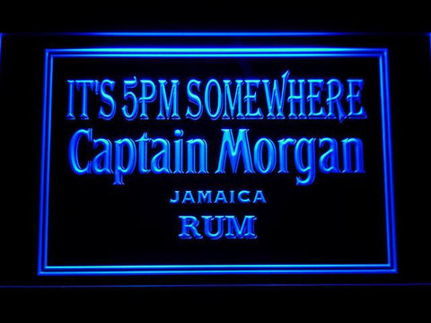 Captain Morgan Jamaica Rum It's 5pm Somewhere LED Neon Sign - Blue - SafeSpecial