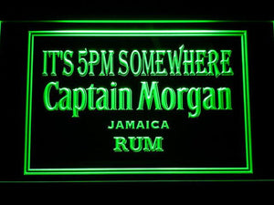 Captain Morgan Jamaica Rum It's 5pm Somewhere LED Neon Sign - Green - SafeSpecial