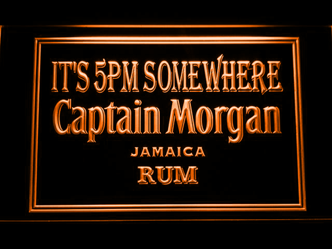 Captain Morgan Jamaica Rum It's 5pm Somewhere LED Neon Sign - Orange - SafeSpecial