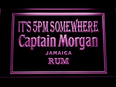 Captain Morgan Jamaica Rum It's 5pm Somewhere LED Neon Sign - Purple - SafeSpecial