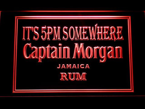 Captain Morgan Jamaica Rum It's 5pm Somewhere LED Neon Sign - Red - SafeSpecial