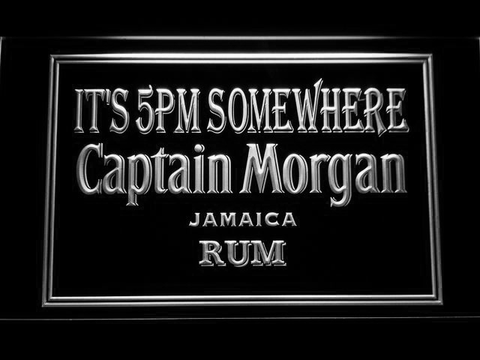 Captain Morgan Jamaica Rum It's 5pm Somewhere LED Neon Sign - White - SafeSpecial