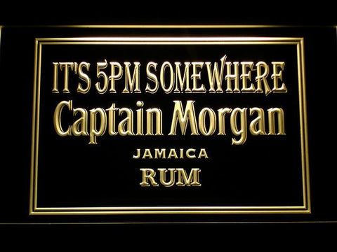 Captain Morgan Jamaica Rum It's 5pm Somewhere LED Neon Sign - Yellow - SafeSpecial