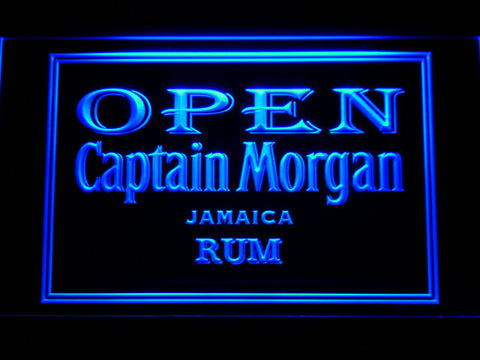 Captain Morgan Jamaica Rum Open LED Neon Sign - Blue - SafeSpecial