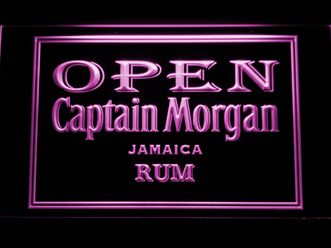 Captain Morgan Jamaica Rum Open LED Neon Sign - Purple - SafeSpecial