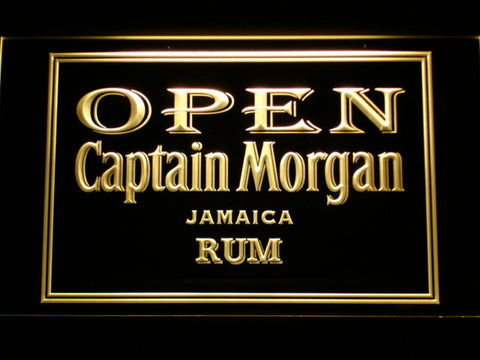 Captain Morgan Jamaica Rum Open LED Neon Sign - Yellow - SafeSpecial