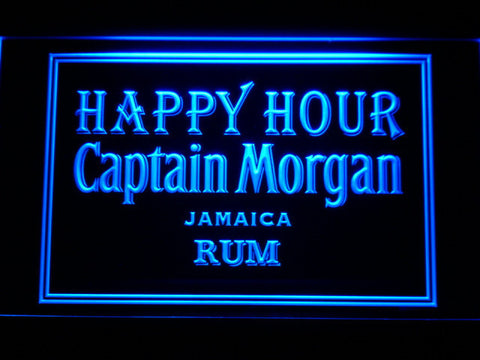 Captain Morgan Jamica Rum Happy Hour LED Neon Sign - Blue - SafeSpecial