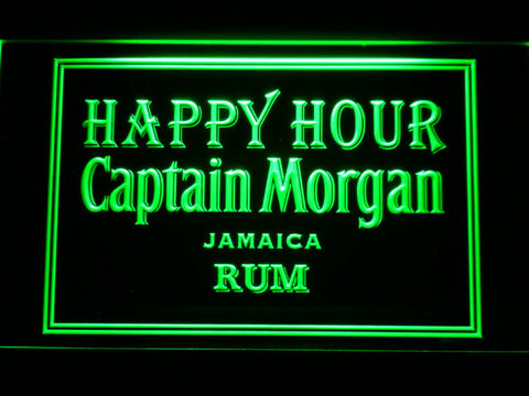 Captain Morgan Jamica Rum Happy Hour LED Neon Sign - Green - SafeSpecial