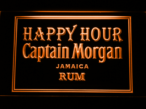 Captain Morgan Jamica Rum Happy Hour LED Neon Sign - Orange - SafeSpecial
