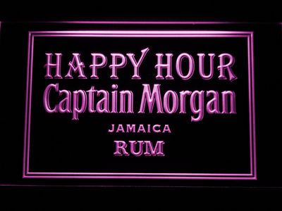 Captain Morgan Jamica Rum Happy Hour LED Neon Sign - Purple - SafeSpecial