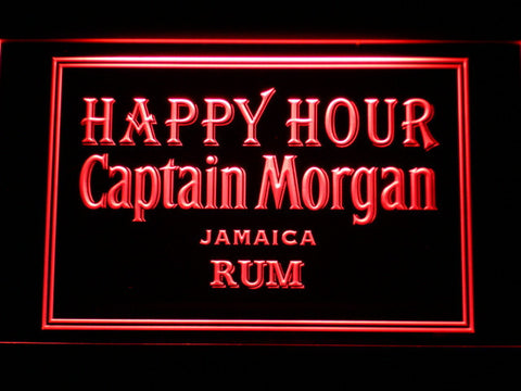 Captain Morgan Jamica Rum Happy Hour LED Neon Sign - Red - SafeSpecial