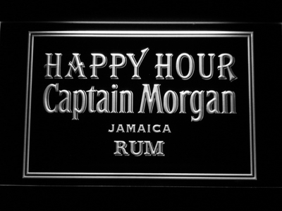Captain Morgan Jamica Rum Happy Hour LED Neon Sign - White - SafeSpecial