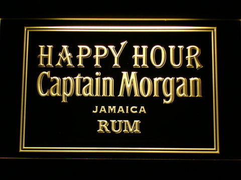 Captain Morgan Jamica Rum Happy Hour LED Neon Sign - Yellow - SafeSpecial