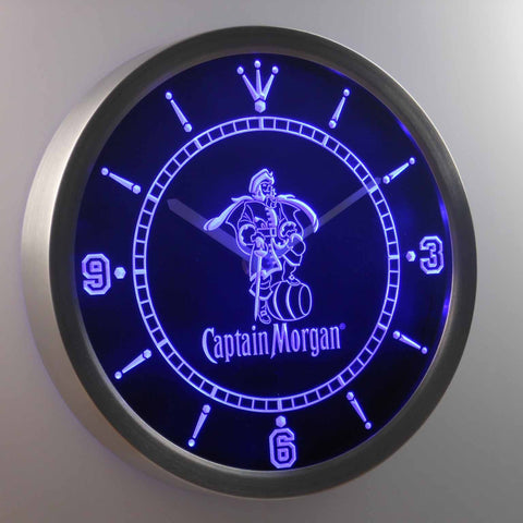Image of Captain Morgan LED Neon Wall Clock - Blue - SafeSpecial