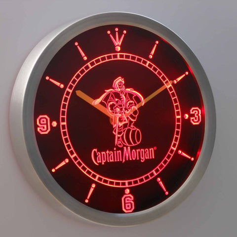 Captain Morgan LED Neon Wall Clock - Red - SafeSpecial