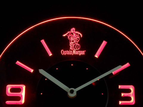 Captain Morgan Modern LED Neon Wall Clock - Red - SafeSpecial
