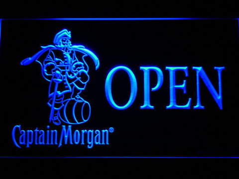 Image of Captain Morgan Open LED Neon Sign - Blue - SafeSpecial