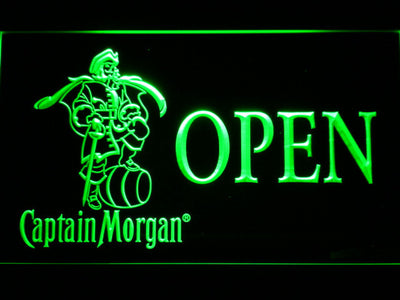 Captain Morgan Open LED Neon Sign - Green - SafeSpecial
