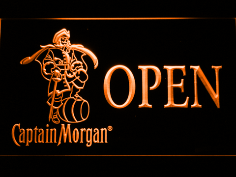 Image of Captain Morgan Open LED Neon Sign - Orange - SafeSpecial