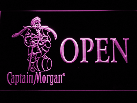 Image of Captain Morgan Open LED Neon Sign - Purple - SafeSpecial