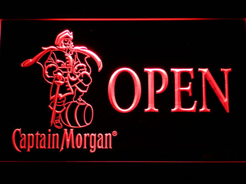 Image of Captain Morgan Open LED Neon Sign - Red - SafeSpecial