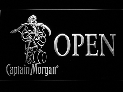 Captain Morgan Open LED Neon Sign - White - SafeSpecial