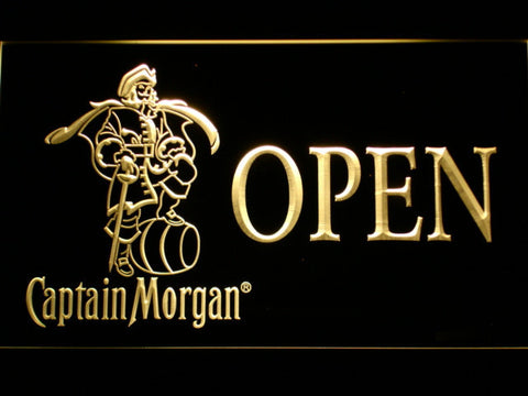 Image of Captain Morgan Open LED Neon Sign - Yellow - SafeSpecial