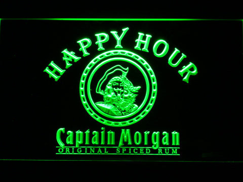 Captain Morgan Original Happy Hour LED Neon Sign - Green - SafeSpecial