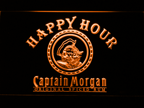 Captain Morgan Original Happy Hour LED Neon Sign - Orange - SafeSpecial