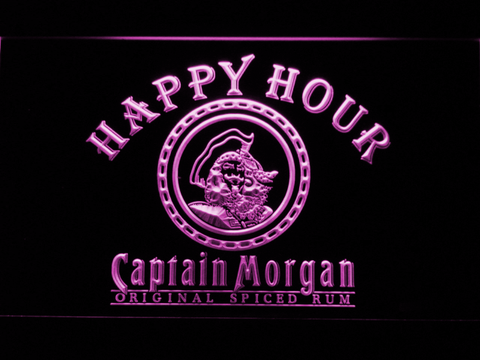 Captain Morgan Original Happy Hour LED Neon Sign - Purple - SafeSpecial