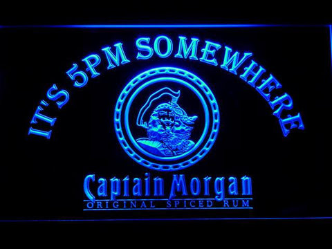 Image of Captain Morgan Original It's 5pm Somewhere LED Neon Sign - Blue - SafeSpecial