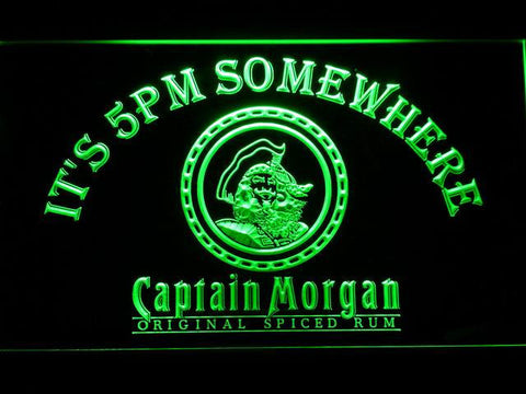 Image of Captain Morgan Original It's 5pm Somewhere LED Neon Sign - Green - SafeSpecial