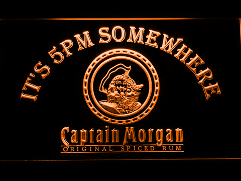 Image of Captain Morgan Original It's 5pm Somewhere LED Neon Sign - Orange - SafeSpecial