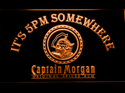Captain Morgan Original It's 5pm Somewhere LED Neon Sign - Orange - SafeSpecial