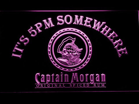 Image of Captain Morgan Original It's 5pm Somewhere LED Neon Sign - Purple - SafeSpecial