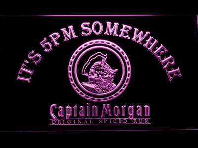 Captain Morgan Original It's 5pm Somewhere LED Neon Sign - Purple - SafeSpecial