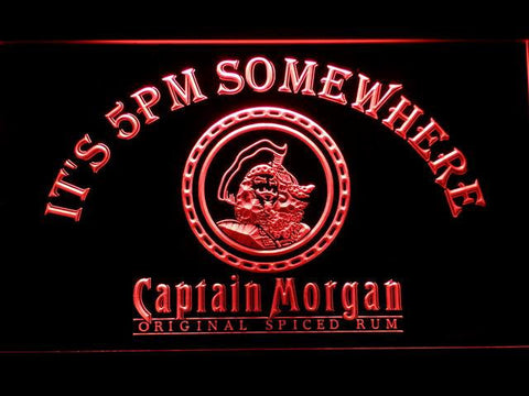 Image of Captain Morgan Original It's 5pm Somewhere LED Neon Sign - Red - SafeSpecial
