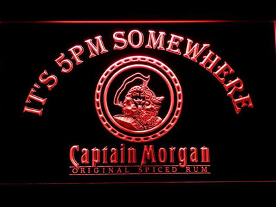 Captain Morgan Original It's 5pm Somewhere LED Neon Sign - Red - SafeSpecial