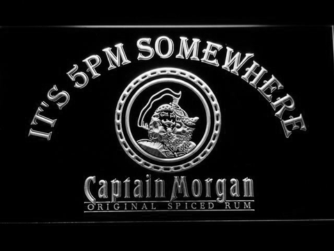Image of Captain Morgan Original It's 5pm Somewhere LED Neon Sign - White - SafeSpecial